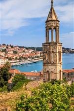 Croácia, Hvar, cidade, torre, iates, mar, costa