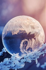 Preview iPhone wallpaper Crystal ball, snow, frost, glare