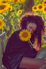 Preview iPhone wallpaper Curls hair girl, chair, sunflowers, mood