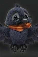 Preview iPhone wallpaper Cute bird, crow, wings, art cartoon