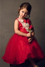 Preview iPhone wallpaper Cute child, girl, red skirt, red roses
