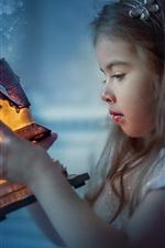 Cute child girl, toy house, light, magic