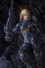 Preview iPhone wallpaper Cyborg, blonde girl, fiction, art picture
