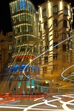 Czech Republic, Prague, dancing house, night, lights
