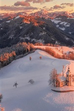 Czech Republic, morning, snow, church, mountains, forest, winter