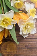 Preview iPhone wallpaper Daffodils, tulips, wood desktop