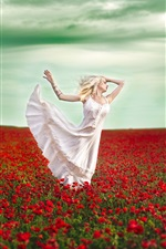 Preview iPhone wallpaper Dancing girl, poppies, red flowers field