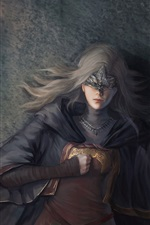 Preview iPhone wallpaper Dark Souls III, girl, rest, fire