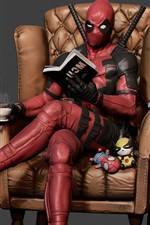 Preview iPhone wallpaper Deadpool, reading, chair, coffee