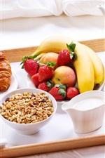 iPhone fondos de pantalla Delicioso desayuno, cruasanes, frutas, leche, jugo, muesli, café