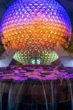 Disneyland, fonte, bola, águas, noite, luzes