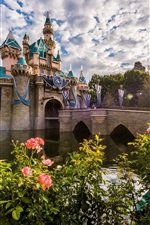 Preview iPhone wallpaper Disneyland, morning, roses, clouds, sun rays