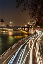 Preview iPhone wallpaper District of Notre-Dame, Paris, France, night, bridge, lights, buildings