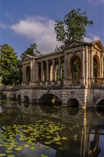 Preview iPhone wallpaper England, Buckinghamshire, Palladian Bridge, Stowe Park, river