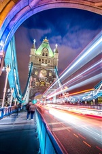 Preview iPhone wallpaper England, London, city, bridge, light lines, night