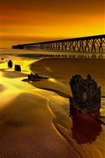 England, glow, pier, dusk, bridge, sea, coast