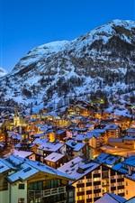 Preview iPhone wallpaper Europe, Swiss, Matterhorn, Zermatt, Alps, city night, lights