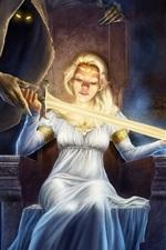 Preview iPhone wallpaper Fantasy blonde girl, death, sword