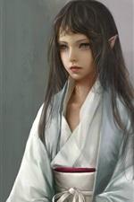 Fantasy girl, elf, kimono