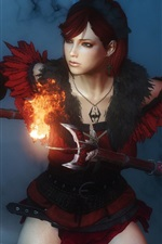 Preview iPhone wallpaper Fantasy girl, pose, weapons, fire