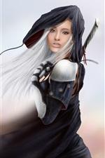 Fantasia menina, cabelos brancos, espada, vento