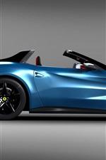 Ferrari blue car side view, sports car