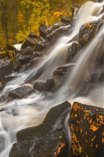Preview iPhone wallpaper Finland, Northern Savonia, Maaninka, waterfall, stones, forest