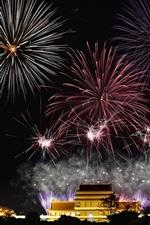 Fireworks, city night, holiday