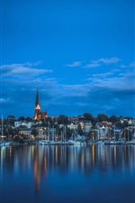 Preview iPhone wallpaper Flensburg, Germany, fjord, boats, houses, night