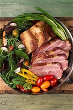 Food, ham, tomatoes, meat, pot, wood board