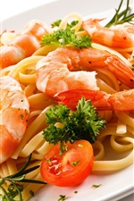 Preview iPhone wallpaper Food, pasta, shrimp, tomatoes