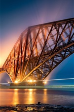 Preview iPhone wallpaper Forth Bridge, Scotland, light trail, illumination, river, night