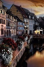 France, Colmar, river, houses, night