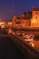 Preview iPhone wallpaper France, Honfleur, bridge, lights, boats, night