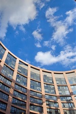 France, Strasbourg, European Parliament building, windows, blue sky, clouds