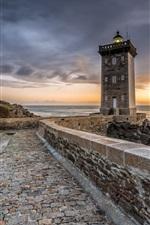 France, sea, lighthouse, rocks, road, clouds