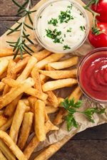 Preview iPhone wallpaper French fries, tomatoes sauce