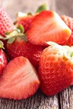 Fresh strawberry, wood board