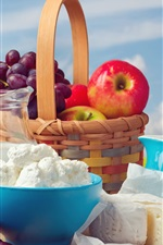 Preview iPhone wallpaper Fruit, grapes, apples, basket, cheese