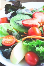 Preview iPhone wallpaper Fruit salad, kiwi, strawberry, small tomatoes