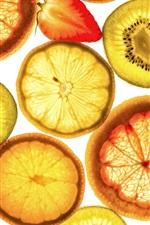Preview iPhone wallpaper Fruit slices, orange, kiwi, strawberry