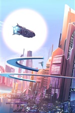 Preview iPhone wallpaper Futuristic city, fantasy, buildings, spaceships