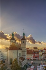 Preview iPhone wallpaper Germany, Bavaria, Regensburg, church, city, clouds, sun rays