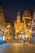 Preview iPhone wallpaper Germany, Bavaria, alley, houses, night, lights