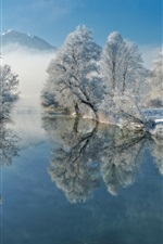 Germany, Bavaria, river, water reflection, winter, trees, snow