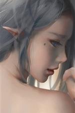 Girl, elf, blue eyes, look back, art painting
