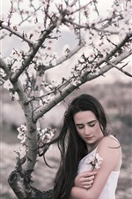 Girl in spring, flowers, tree