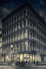 Preview iPhone wallpaper Gotham, New York, Manhattan, city, night, street, buildings, USA