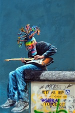 Graffiti, figure, wall, colorful, mask, guitar, moon