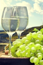 Preview iPhone wallpaper Grapes, wine, cups, mountain, clouds